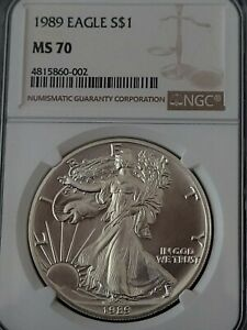 1989 NGC MS70 Certified American Silver Eagle S$1 * FREE-SHIP * 30-DAY GURANTEE