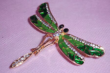 GOLD & GREEN GLOSSY 3 DIMENSIONAL CUT DRAGONFLY BROOCH PIN W CRYSTAL ACCENTS