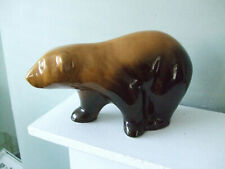 Vintage Bear Ornament Smooth Glaze Tactile Shape Tan to Brown Ombre