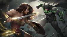 Game Injustice 2 Batman Wonder Woman Silk Poster Wallpaper 24 X 13 inch