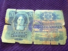 Hungary 20 Korona banknote 1913 with stamp No 2