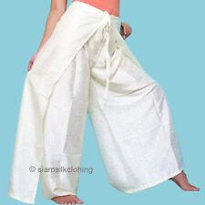 Women's Fisherman Pants Harem Thai Silk Yoga Wrap Plus Hippie Off-White Trousers