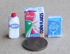 1:12 Scale Breakfast Cereal Set Dolls House Food Empty Corn Flakes Milk & Sugar