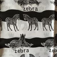 Zebra Print Fabric  Black & White  Marked No. 805373   Shy 2 Yds