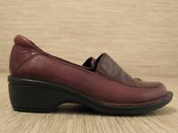 Clarks Artisan Red Leather Shoes Women's Size US 7.5 M Slip-On Loafers Wedges