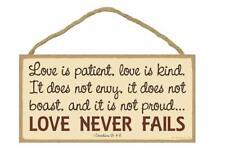 """LOVE NEVER FAILS 1 Corinthians 13:4-8 Primitive Wood Hanging Plaque 5"""" x 10"""""""