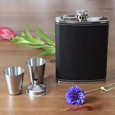 New Black Leather Hip Flask Set Of 4 (1 Flask 2 cups  & 1 Funnel) Gift Pack