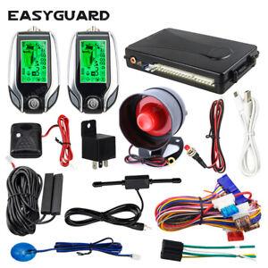 EASYGUARD EC204 2 way car alarm pke keyless entry system shock sensor LCD pager