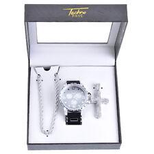 Men's Rapper Silver Tone Iced Watches 3D Cross Pendant Necklace SET WM 8147 S