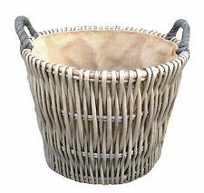 Small Round Antique Wash Wicker Log Basket Hessian Lining Kindling Wood Burner
