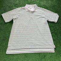 Adidas Climalite Polo Size Large Men's White Black Green Stripes Golf