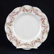 """Theodore Haviland Varenne Salad Plate, Vintage Dessert, Pink Roses Gold, 7 1/2"""""""