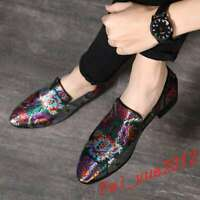 Men's Clubwear Embroidery Loafers Slip On Leather Floral Pointy Toe Metal Shoes