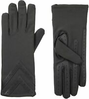isotoner womens Spandex Touchscreen Cold Weather Gloves With Warm Fleece Lining