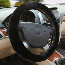 Universal Soft Warm Plush Fuzzy Auto Car Steering Wheel Cover Black For Winter~