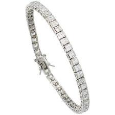 Sterling Silver 9 ct. Princess Cut CZ Stone Tennis Bracelet