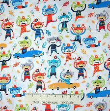 Nursery Baby Fabric - Monkey Moves Cars White - Michael Miller Cotton 18""