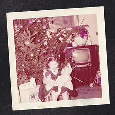 Vintage Photograph Little Girl w/ Dolls - Christmas Tree - Retro Television Set