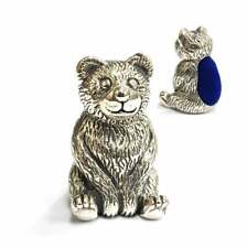 Miniature Collectible Sitting Teddy Bear Pin Cushion Sewing Needle With Blue