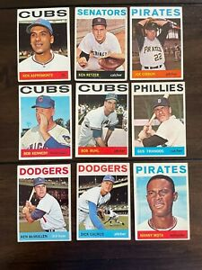 ⚾️1964 TOPPS  - LOT OF 9-ALL DIFFERENT -VINTAGE-NICE-FREE SHIPPING ⚾️