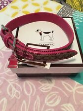 New *Coach* Authentic Pink Signature Dog Collar With Hydrant  Sz Medium #60178