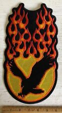 """Shadow Eagle Flames Motorcycle Back Patch Biker Vest Jacket 6"""" X 12"""" Iron On"""