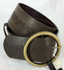 Leather Wide Belt Boho Brown Brass Buckle Over The Shirt Vine Womens Small NWT