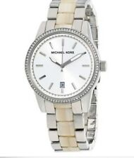 Michael Kors Ladies Silver /Horn Acetate Band White Dial Watch MK6371