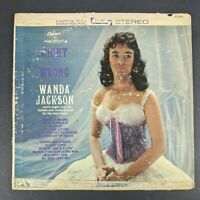 ID7493a-Wanda Jackson-Right Or Wrong-T 1596-vinyl LP-us-m6s8 Record 12 Inch Rare