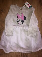 Disney Outfit Minnie Mouse Baby Girls Grey Silver Tutu Dress Brand New 9 12 18