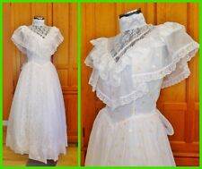 New Vtg 80s GUNNE SAX Organza Lace Prairie Boho Hippie Wedding Maxi DRESS GOWN