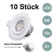 10x LED Einbaulampen 5W 350lm 230V Spots flach Deckenlampen Strahler warmweiß