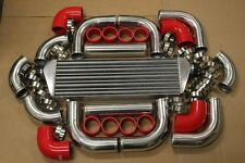 RED FIMC INTERCOOLER+TURBO PIPING KIT COUPLER CLAMPS TURBOCHARGER SUPERCHARGER