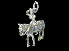 Queen on Horse charm Sterling silver 925 charmmakers 3D