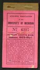 1925 MICHIGAN WOLVERINES Season Ticket Booklet, Football & Baseball