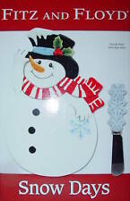Fitz and Floyd Snowman Ceramic Snack Plate w/ Spreader Holiday Hostess Gift