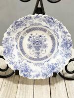 "Arcopal France Honorine Blue Floral Scalloped Edge Salad Bowl 7"" Dia Vintage"