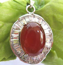 Natural Oval Red Agate Onxy Silver Cubic Zirconia Crystal Pendant Chain Necklace