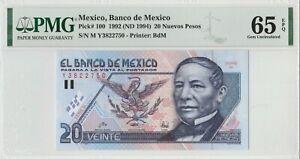 Mexico: 20 Nuevos Pesos PMG Juarez Dec 10, 1992 El Banco de Mexico UNC.