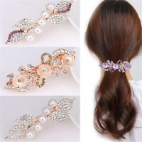 Women Girl Crystal Rhinestone Pearl Leaf Barrette Hair Clip Hairpin Hair Jewelry