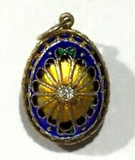 Sterling Silver Gold Vermeil Enameled Egg Pendant or Charm