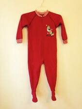 """Carters """"Santa's Helper"""" Red Christmas Footed Pajamas Size 4T"""
