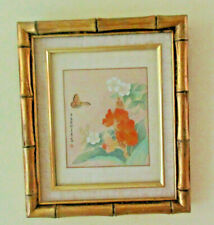 Asian Hand Painted on Silk Flowers And Butterfly Signed Sealed Gold Bamboo Frame