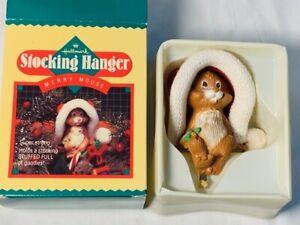 Vintage Hallmark 1985 MERRY MOUSE Stocking Holder Hanger with Box~Christmas VGC