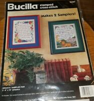 Bucilla Grace's Sampler Pair Stamped Cross Stitch Kit 64387 1995