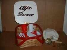 New ListingVintage Alfa Romeo Picnic Basket Wooden,CorkScrew,Blanket, Hat, Italy Car Badge,