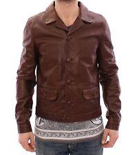 NWT $2860 DOLCE & GABBANA Brown Bull Taurus Leather Jacket Coat EU48 / US38 / M