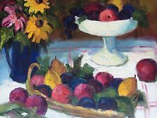 """Fruit Still Life Hand Painted 20""""x 24"""" Oil Art Flowers Floral"""