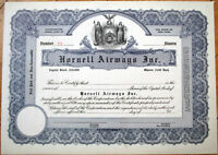 1920 Aviation/Airline Stock Certificate: 'Hornell Airways, Inc.' - New York