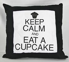 "16"" Keep Calm And Eat a Cupcake Pillow Black White Home Decor"
